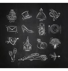 Wedding icons black vector image vector image