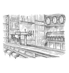 beer bar pub long table with chairs vector image