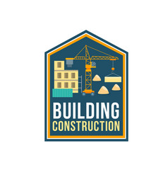 construction company badge with building site vector image