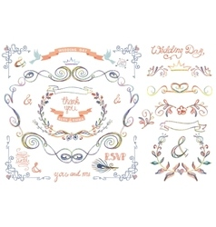 Cute wedding template setFloral Decor elements vector image vector image