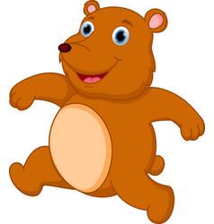 happy brown bear cartoon vector image vector image