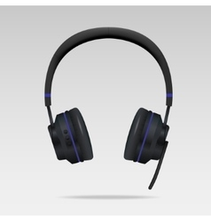 Realistic Black Headphones with microphone vector image