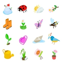 Spring elemets icons set isometric 3d style vector image vector image