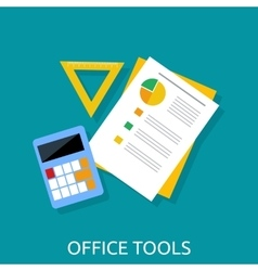 Calculator Ruler and Paper Office Tools vector image vector image