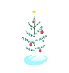 Christmas tree with ball decorations vector image