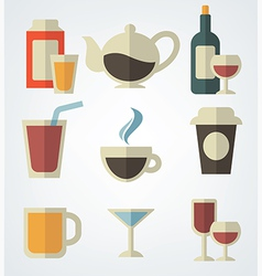 drinks in flat style vector image vector image