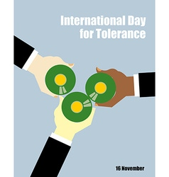 International Day for Tolerance Toasting with beer vector image vector image