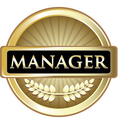 manager gold label vector image vector image