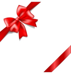 Red bow with a ribbon isolated on white background vector image vector image