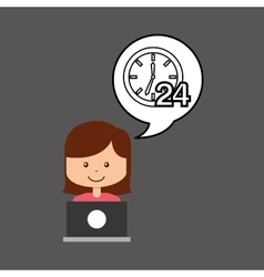 Support assitance concept girl with clock 24 vector