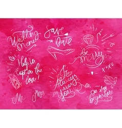 Wedding signs pink vector image vector image