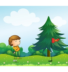 A girl playing golf in the hill vector image vector image