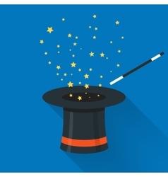 Abracadabra cartoon concept Magic wand with stars vector image