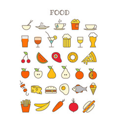 different meal thin line color icons set vector image
