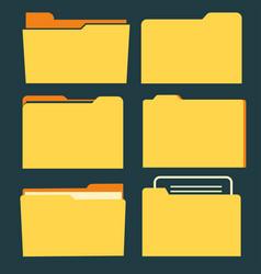 documents folder icon set business document vector image