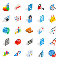 notification icons set isometric style vector image vector image