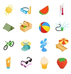 Summer elements icons set isometric 3d style vector image vector image