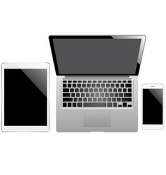 tablet laptop and smartphone on the white vector image vector image