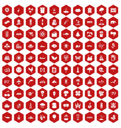 100 global warming icons hexagon red vector