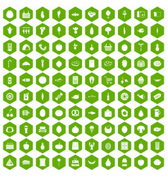 100 grocery shopping icons hexagon green vector
