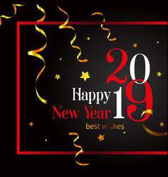 2019 happy new year stylish card on a black vector image