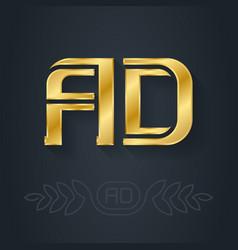 A and d - initials or golden logo ad - metallic vector