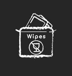 Alcohol free wipes chalk white icon on black vector