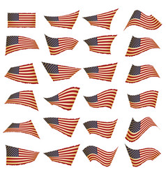 American flag setamerican flag blowing in the vector