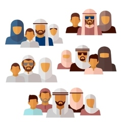 Arabian muslim middle eastern family icons vector