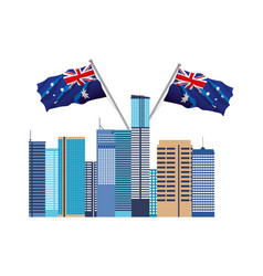 Australian city with flags nation vector