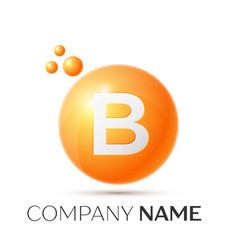 B letter splash orange dots and circle bubble vector