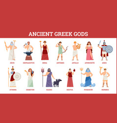 Banner with goddesses and gods ancient greek vector
