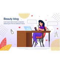 beauty blogger blog flat poster template vector image
