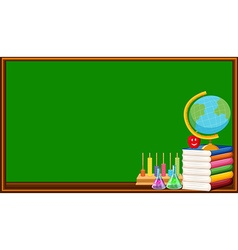 Blackboard and many books vector
