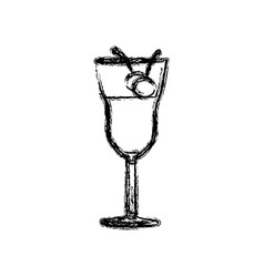 Blurred silhouette drink cocktail glass vector