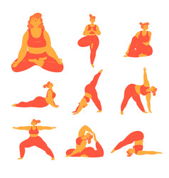 Body positive plus size woman doing yoga poses vector