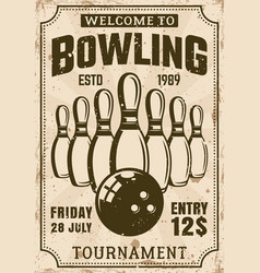Bowling tournament poster in vintage style vector