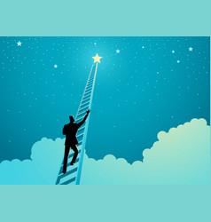 Businessman climbing a ladder to reach out vector