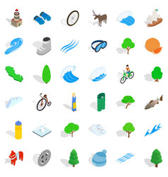 camping icons set isometric style vector image