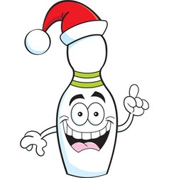 Cartoon bowling pin wearing a santa hat vector