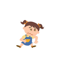 Cartoon character of a sick girl vector