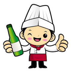 Cartoon chef character promotes a distilled vector