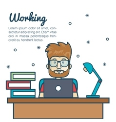 cartoon man working desk laptop with lamp vector image