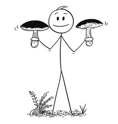 Cartoon of man holding two big eatable boletus vector