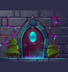cartoon wooden magic door mystery portal vector image