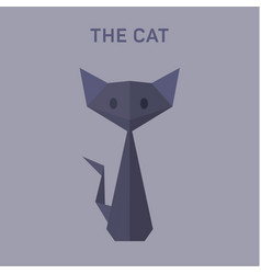 Cat animals origami flat low vector