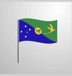 Christmas island waving flag vector