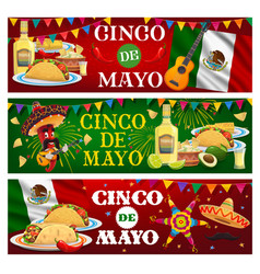cinco de mayo banners with mariachi food vector image