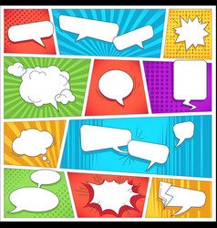 Comics book background template speech bubbles and vector