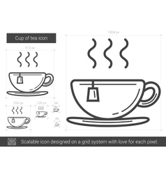 Cup of tea line icon vector